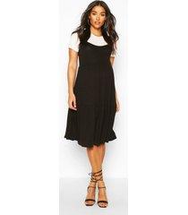 maternity 2 in 1 smock dress, black