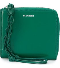 jil sander embossed logo square zipped wallet - green