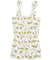 little girl's & girl's banana-print romper