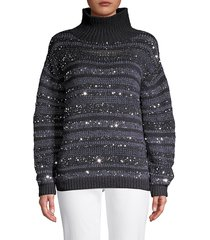 lafayette 148 new york women's striped sequin cashmere sweater - ink - size l