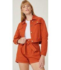 amaro feminino jaqueta sarja ampla, laranja queimado