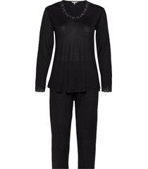 silk jersey - pyjamas, long sleeve pyjama zwart lady avenue