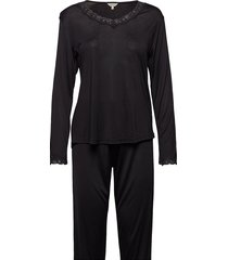 silk jersey - pyjamas, long sleeve pyjama zwart lady avenue