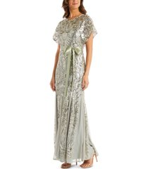 r & m richards petite allover-sequin gown