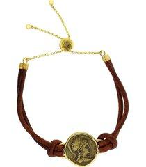 athena coin leather bracelet