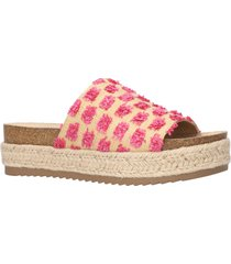 women's bella vita satara platform slide sandal, size 12 ww - beige
