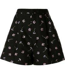 markus lupfer flare floral shorts - black