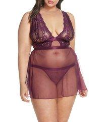 plus size women's oh la la cheri floral lace babydoll chemise