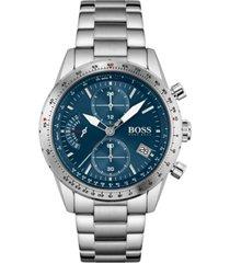 boss men's chronograph pilot stainless steel bracelet watch 44mm