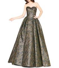 mac duggal women's jacquard ball gown - antique gold - size 4