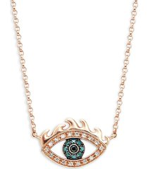 effy women's 14k rose gold, white, blue & black diamond eye pendant necklace