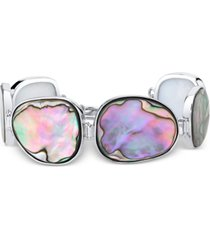 abalone shell link toggle bracelet in sterling silver