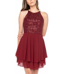 b darlin juniors' sequinned halter a-line dress