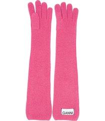 ganni long logo patch gloves - pink