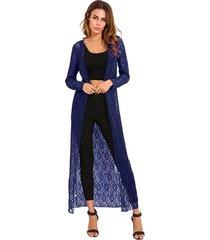 zanzea 2018 otoño prendas de abrigo de encaje de ganchillo kimono cardigan blusas de manga larga floja ocasional de tapas largas blusas camisas más el tamaño armada -azul