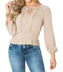 blusa austria beige para mujer croydon