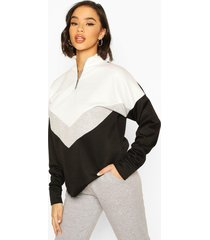 chervron colour block zip high neck sweatshirt