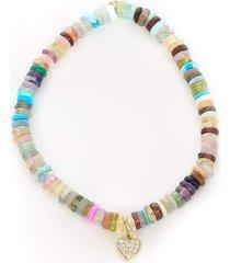 pave diamond heart charm on multi opal bracelet