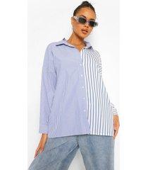 contrasterend gestreepte oversized blouse, blue
