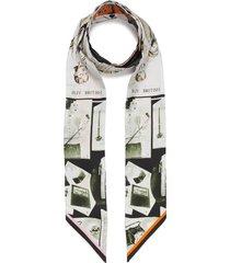 vintage editorial print skinny silk scarf