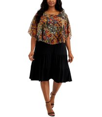 connected plus size popover tiered dress