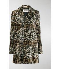 saint laurent faux-fur lynx print coat