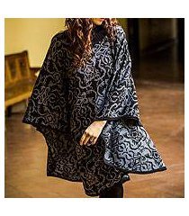 alpaca blend reversible poncho, 'sublime black' (peru)