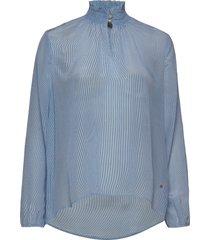 gallia silk blouse blus långärmad blå mos mosh