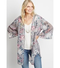 maurices womens gray floral open front kimono