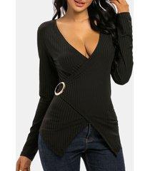 o-ring rib-knit long sleeve surplice top