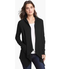 splendid draped thermal hoodie, size small in black at nordstrom