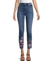 driftwood women's jackie high-rise embroidered jeans - medium wash - size 24 (0)