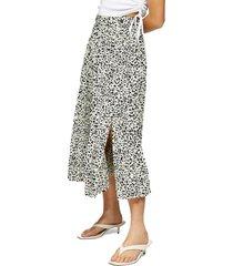 petite women's topshop crystal animal print midi skirt