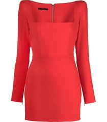 alex perry square neck fitted mini dress - red