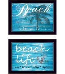 "trendy decor 4u beach life 2-piece vignette by cindy jacobs, black frame, 15"" x 11"""