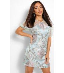 mesh jacquard mini jurk met pofmouwen, blauwgroen