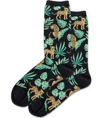 hot sox women's cheetah crew socks
