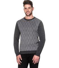 suéter passion tricot slim jacar grafite