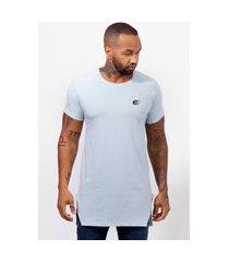 camiseta masculina camisa longline edius basica lisa azul