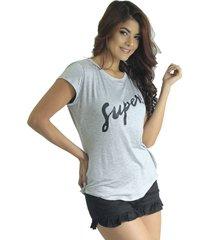 camiseta mujer gris marfil super