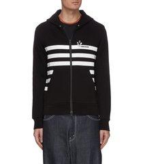 stripe logo print hoodie