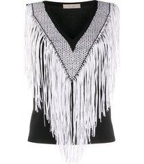 d.exterior fringed crochet knit vest top - black