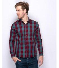 camisa social teodoro xadrez texas algodão 60 fios masculina