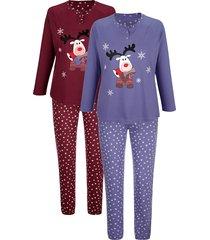 pyjama's per 2 stuks blue moon rookblauw::bordeaux