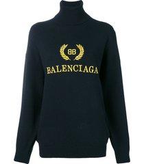 balenciaga logo embroidered turtleneck sweater - black