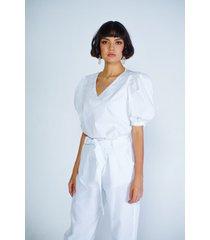 blusa adrissa blanca con maxi cuello solapa