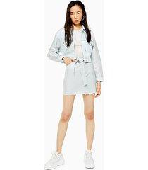 crystal bleach denim belted mini skirt - mid stone