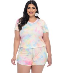 conjunto plus size join curves tie dye t-shirt e shorts