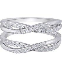 0.40 carat wrap engagement & wedding ring 18k white gold finish 925 silver