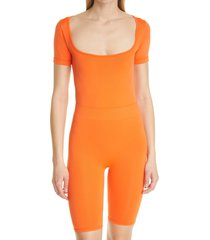 simon miller eero square neck bodysuit, size x-small in coral at nordstrom